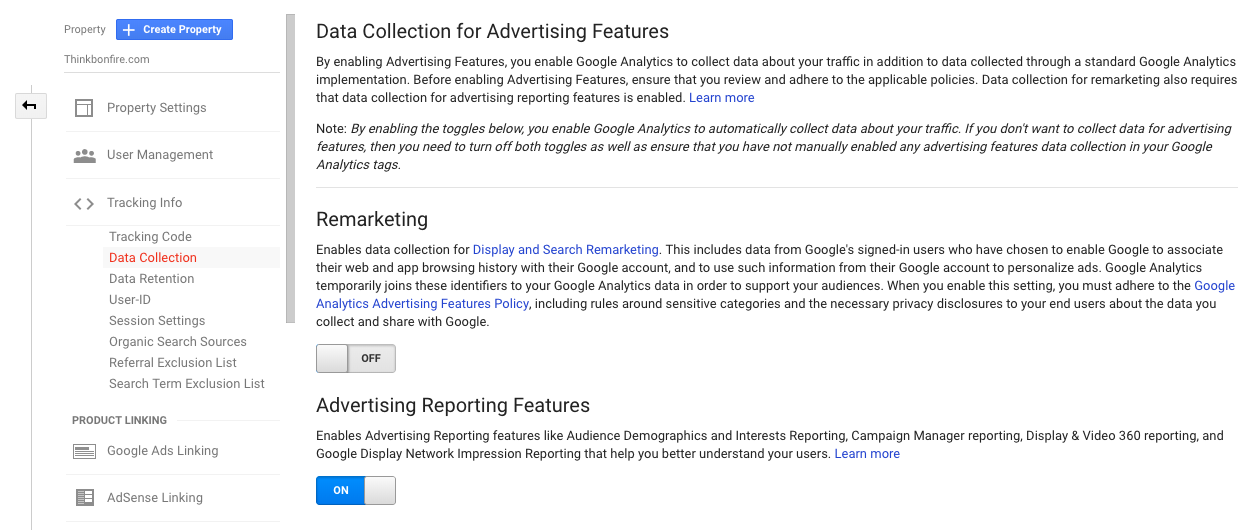 Google Analytics Data Collection for Advertising Features Screenshot