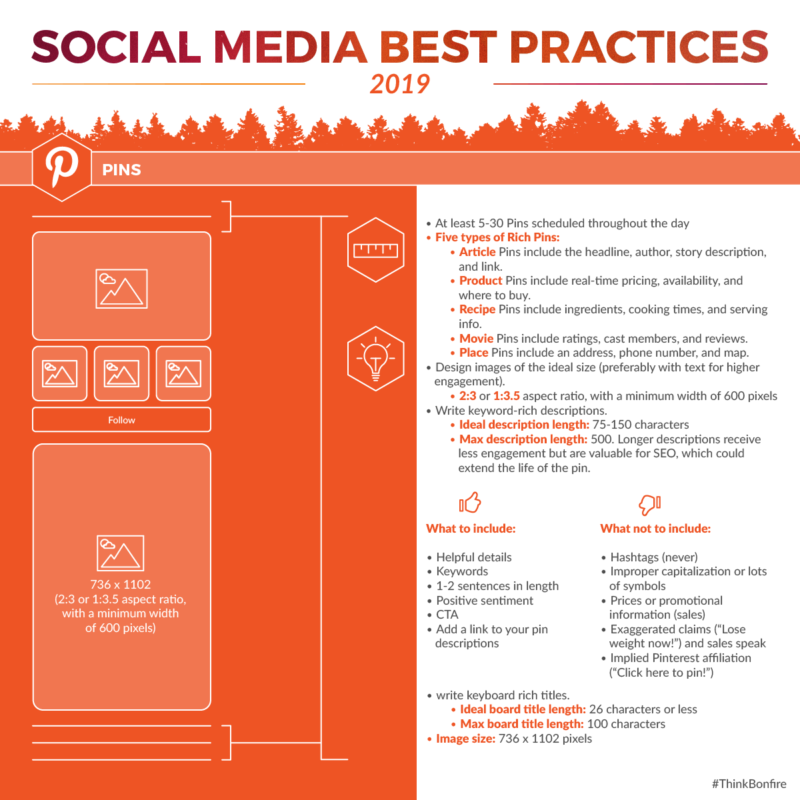 Pinterest Pins best practices for boards description and Pin frequency recommendations.